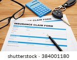 insurance claim form with pen... | Shutterstock . vector #384001180