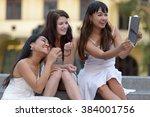 university students in campus... | Shutterstock . vector #384001756