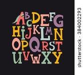 cute alphabet design. vector... | Shutterstock .eps vector #384002293