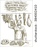 hand drawn sketches of butcher... | Shutterstock .eps vector #384002410