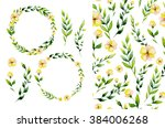 watercolor yellow flower and... | Shutterstock . vector #384006268