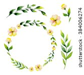 watercolor yellow flower and... | Shutterstock . vector #384006274