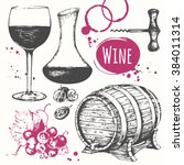 winemaking products in sketch... | Shutterstock .eps vector #384011314