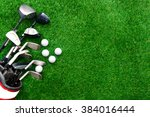 golf ball and golf club in bag... | Shutterstock . vector #384016444