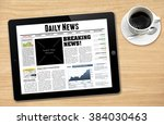 daily news displayed on tablet... | Shutterstock . vector #384030463