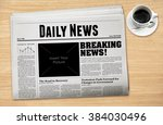 daily newspaper with a cup of... | Shutterstock . vector #384030496