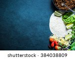 mexican fajitas or tortillas ... | Shutterstock . vector #384038809