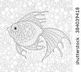 golden fish. adult antistress... | Shutterstock .eps vector #384039418