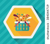 shopping basket flat icon with... | Shutterstock .eps vector #384044719