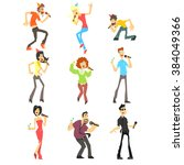 people singing karaoke  flat... | Shutterstock .eps vector #384049366