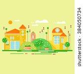 cartoon landscape with cute... | Shutterstock .eps vector #384050734