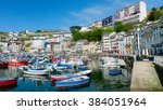 colorful boats crowd the main... | Shutterstock . vector #384051964