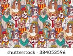 Stock vector cute dog fashion hipster seamless pattern color vector illustration eps 384053596