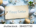 colorful easter eggs.... | Shutterstock . vector #384057730