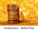 coins stacks on golden... | Shutterstock . vector #384067966