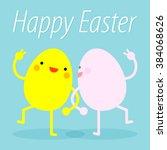 happy easter. easter eggs funny.... | Shutterstock .eps vector #384068626