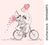 just married. hand drawn... | Shutterstock .eps vector #384068893