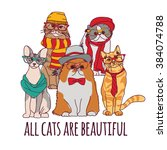 group fashion pets hipster cats ... | Shutterstock .eps vector #384074788