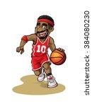 cartoon basketball player is... | Shutterstock .eps vector #384080230
