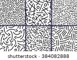 Stock vector abstract seamless patterns with lines 384082888
