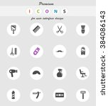 barbershop vector icons for web ... | Shutterstock .eps vector #384086143