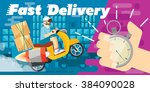 fast delivery scooter design... | Shutterstock .eps vector #384090028