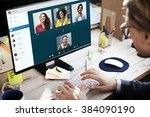 group friends video chat... | Shutterstock . vector #384090190