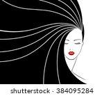 long hair style icon  logo...   Shutterstock .eps vector #384095284