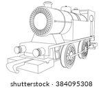 vector retro train vintage ... | Shutterstock .eps vector #384095308