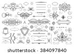 set vintage borders  frame and... | Shutterstock . vector #384097840