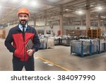 young man in factory. | Shutterstock . vector #384097990