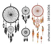 dreamcatcher and feather... | Shutterstock .eps vector #384106306