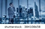 young businessman talking by...   Shutterstock . vector #384108658
