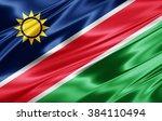 namibia flag of silk | Shutterstock . vector #384110494