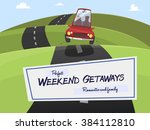 red car traveling through the... | Shutterstock .eps vector #384112810