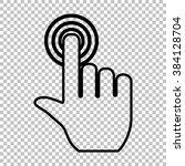 hand click on button. flat...   Shutterstock . vector #384128704