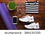 yoga flat lay background | Shutterstock . vector #384131530