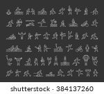 vector line icons of sportsmen... | Shutterstock .eps vector #384137260