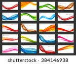 Abstract Colored Wave Card Set...