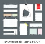 set of paper sheets and pieces. ... | Shutterstock .eps vector #384154774
