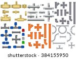 pipes set. metal pipe  bronze... | Shutterstock .eps vector #384155950