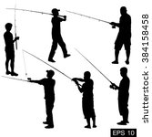fishing silhouette | Shutterstock .eps vector #384158458