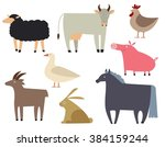 farm animals set. flat... | Shutterstock .eps vector #384159244