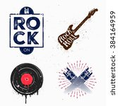 colorful set of rock and roll... | Shutterstock .eps vector #384164959