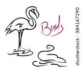 children's drawings of birds   Shutterstock .eps vector #384167290