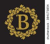golden glittering letter b... | Shutterstock .eps vector #384173854