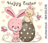 greeting easter card cute... | Shutterstock .eps vector #384181258