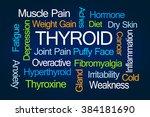 thyroid word cloud on blue... | Shutterstock . vector #384181690