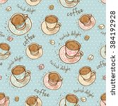 seamless turkish coffee pattern  | Shutterstock .eps vector #384192928