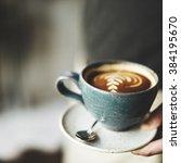 coffee cup cappuccino...   Shutterstock . vector #384195670
